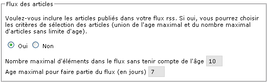 Bloc d'activation du flux des articles