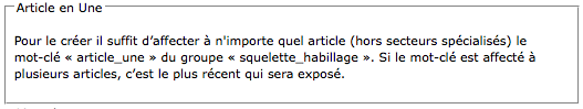 Bloc de configuration de l'article en Une